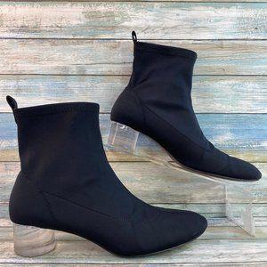 Zara Black Stretch Fabric Ankle Boot Clear Heel